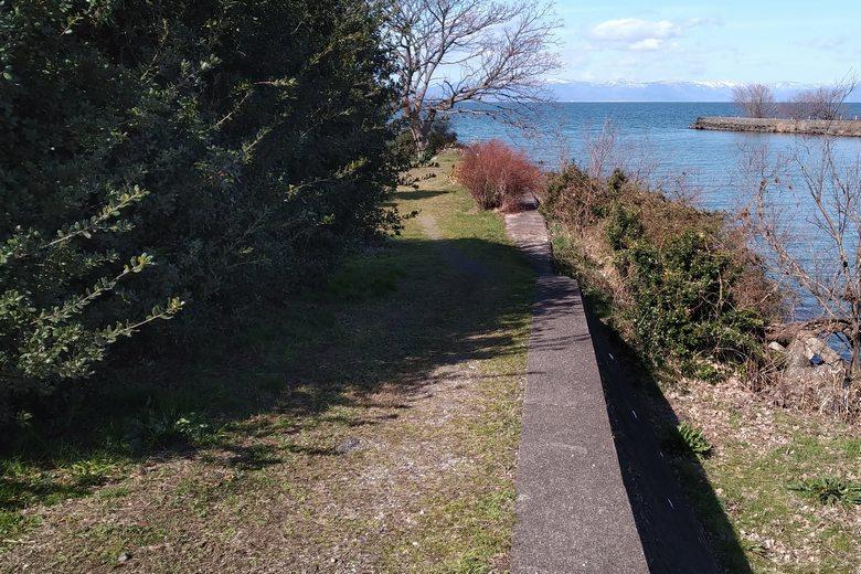 宇曽川河口の南岸へ行く道