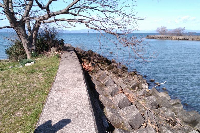 宇曽川河口の南岸のブロック帯