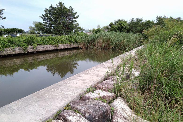 駐車場の近くにある水路