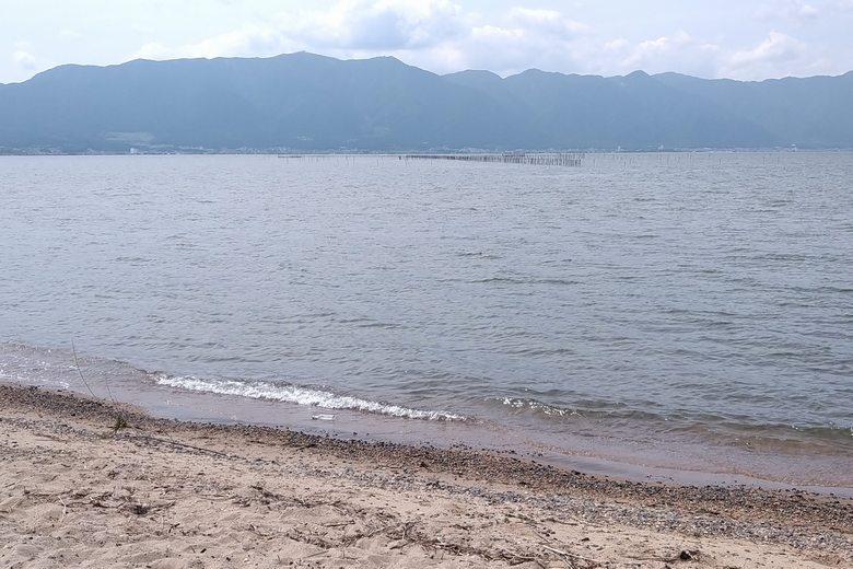 湖岸緑地・吉川の裏の岸辺とエリ