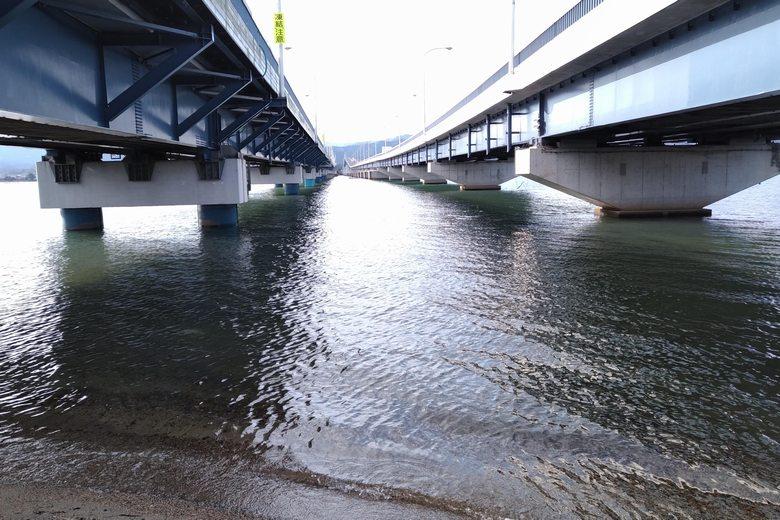 琵琶湖大橋・東詰の岸辺