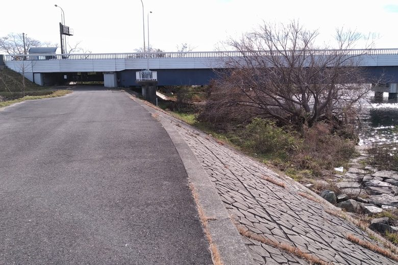 歩道と琵琶湖大橋