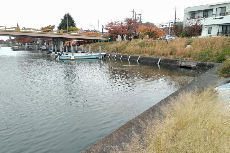 瀬田唐橋の東の、へこんだ船溜まり