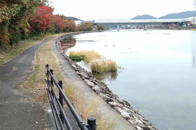 京滋バイパスのの北側の護岸と散歩道