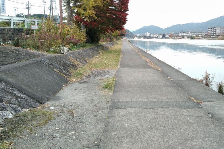 京滋バイパス下の、瀬田川の散歩道