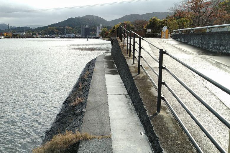 南郷ほたる橋の北側と、瀬田川の護岸