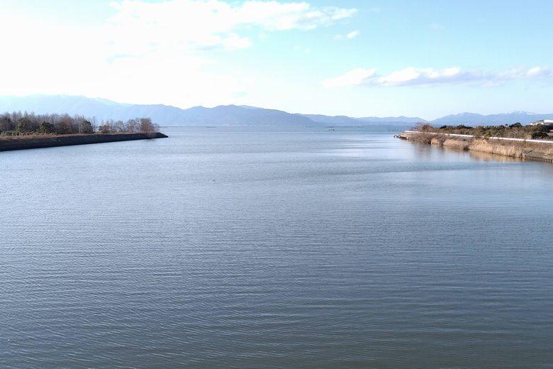大同川の河口と琵琶湖