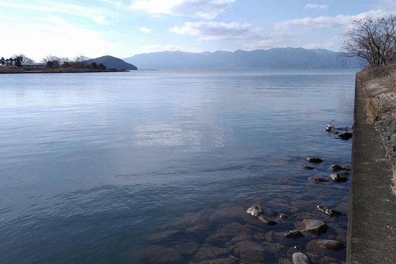 北岸から見た愛知川河口